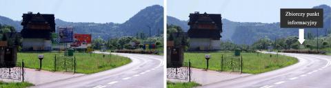 Zdj. 4 Proponowane zastąpienie licznych reklam przy wjeździe do Szczawnicy przez jedną tablicę